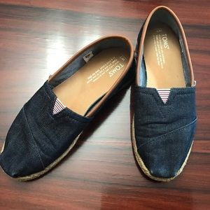 Toms Denim and Leather Slip-on Shoes